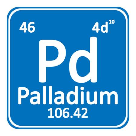 Periodic table element palladium icon on white background. Vector illustration. Banco de Imagens - 98613794