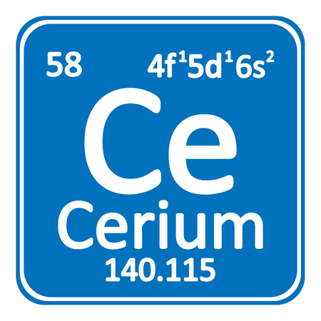 Periodic table element cerium icon on white background. Vector illustration. Imagens - 98627583
