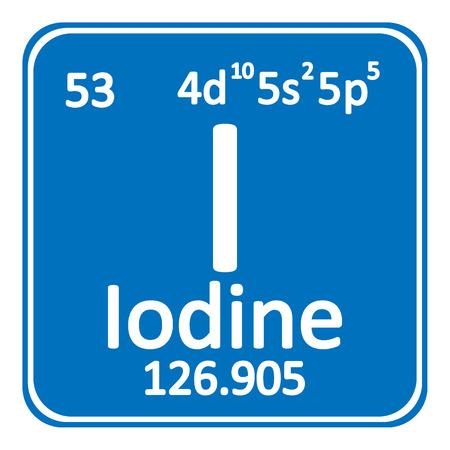 Icône d'iode élément tableau périodique sur fond blanc. Illustration vectorielle.