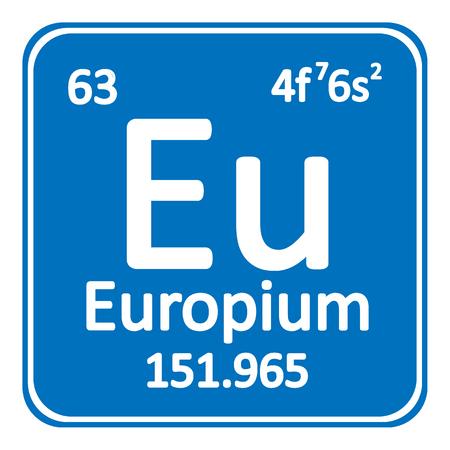 Periodic table element europium icon on white background. Vector illustration. Ilustração