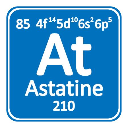 Periodic table element astatine icon on white background. Vector illustration.