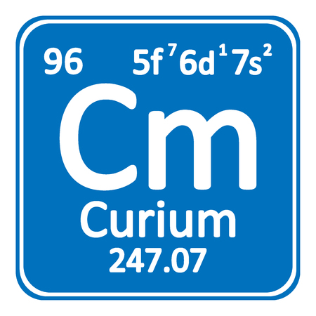 Periodic table element curium icon on white background. Vector illustration. Ilustração
