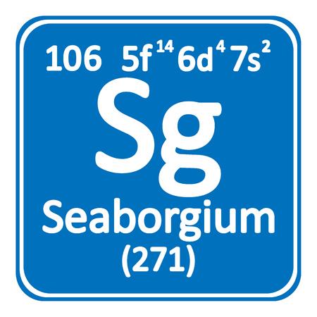Periodic table element seaborgium icon on white background. Vector illustration.