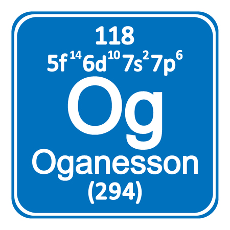 Periodic table element oganesson icon on white background vector illustration. Ilustração