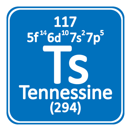 Periodic table element tennessine icon on white background vector illustration.