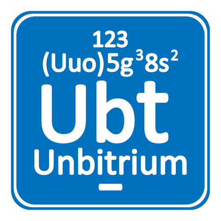 Periodic table element unbitrium icon on white background vector illustration.
