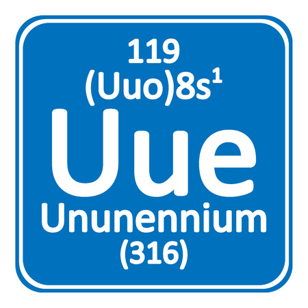 Periodic table element ununennium icon on white background vector illustration.