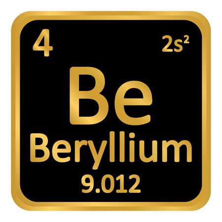 Periodic table element beryllium icon on white background. Vector illustration. Illustration