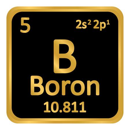 Periodic table element boron icon on white background. Vector illustration. Illustration