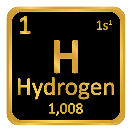 Periodic table element hydrogen icon on black background. Vector illustration.