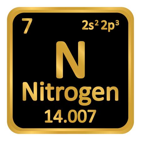 Periodic table element nitrogen icon on white background. Vector illustration. Illustration