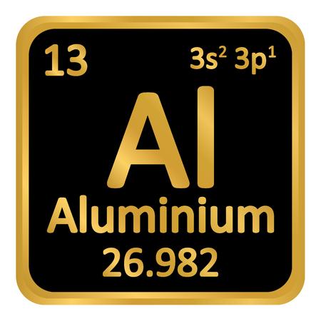 Periodic table element aluminium icon on black background. Vector illustration. Illustration