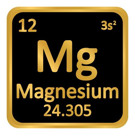 Periodic table element magnesium icon on white background. Vector illustration.