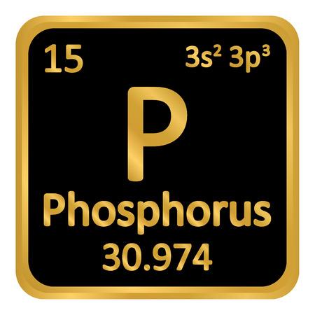 Icône de phosphore élément tableau périodique sur fond blanc. Illustration vectorielle.