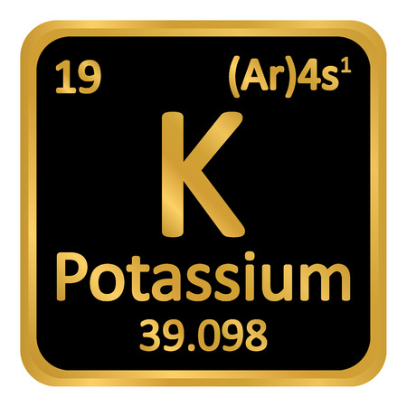 Periodic table element potassium icon on white background. Vector illustration.