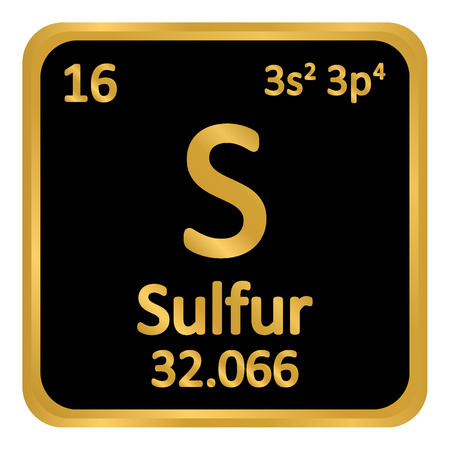 Periodic table element surfur icon on white background. Vector illustration.