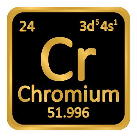 Periodic table element chromium icon on white background. Vector illustration. Ilustração