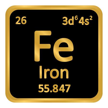 Periodic table element iron icon on white background. Vector illustration. Illustration