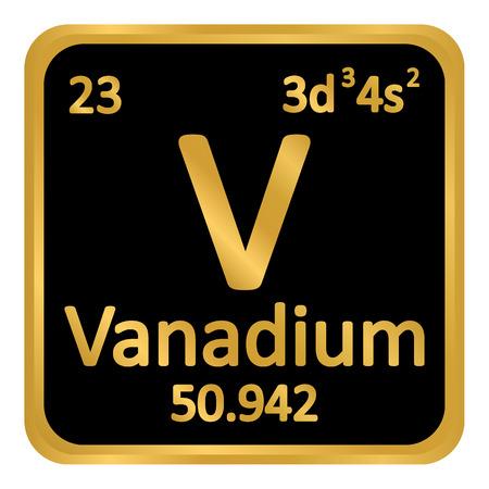 Periodic table element vanadium icon on white background. Vector illustration.