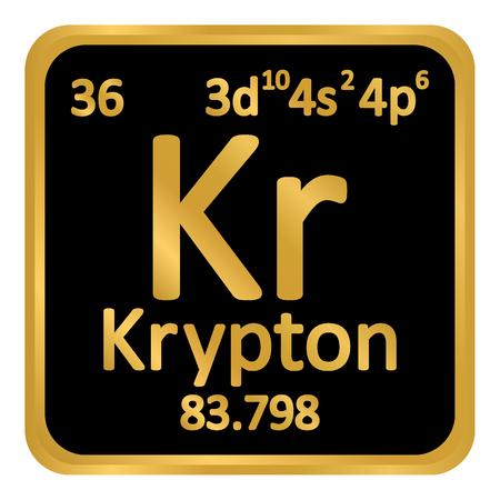 Periodic table element krypton icon on white background. Vector illustration.