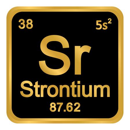 Periodic table element strontium icon on white background. Vector illustration. Illustration