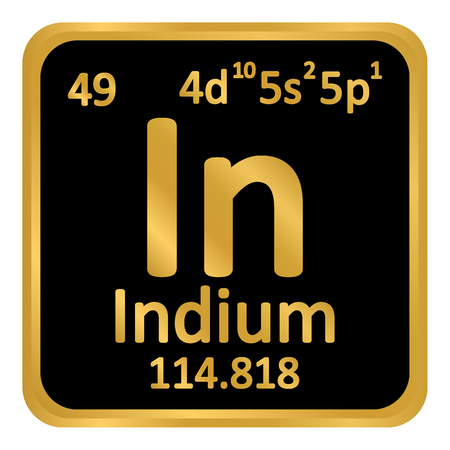 Periodic table element indium icon on white background. Vector illustration.