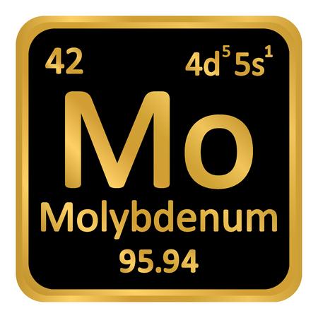 Periodic table element molybdenum icon on white background. Vector illustration. Ilustração