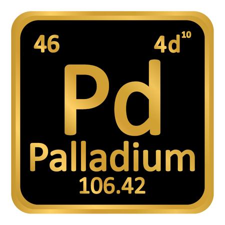 Periodic table element palladium icon on white background. Vector illustration. Illustration