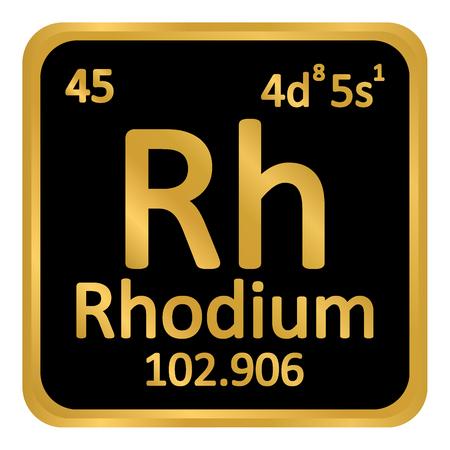 Periodic table element rhodium icon on white background. Vector illustration.