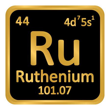 Periodic table element ruthenium icon on white background. Vector illustration. Illustration