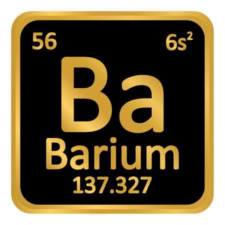 Periodic table element barium icon on white background. Vector illustration. Illustration
