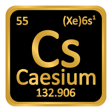 Periodic table element caesium icon on white background. Vector illustration.