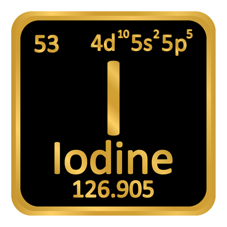 Periodic table element iodine icon on white background. Vector illustration.