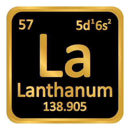 Periodic table element lanthanum icon on white background. Vector illustration. Ilustração