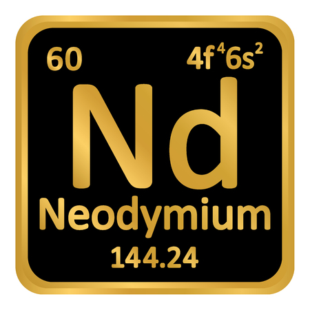 Periodic table element neodymium icon on white background. Vector illustration.