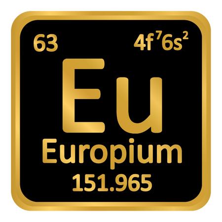 Periodic table element europium icon on white background. Vector illustration. Illustration