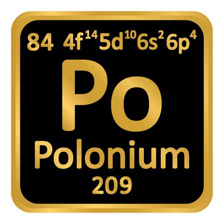 Periodic table element polonium icon on white background. Vector illustration. Ilustração