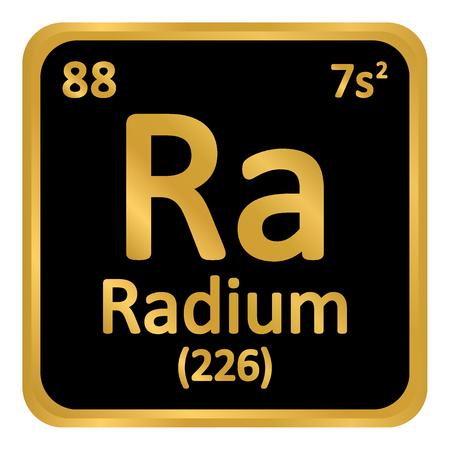Periodic table element radium icon on white background.