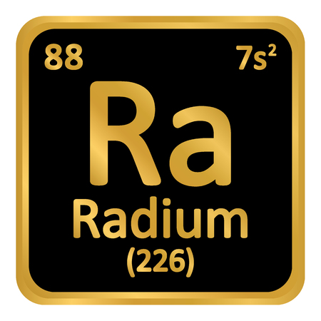 Periodic table element radium icon on white background.