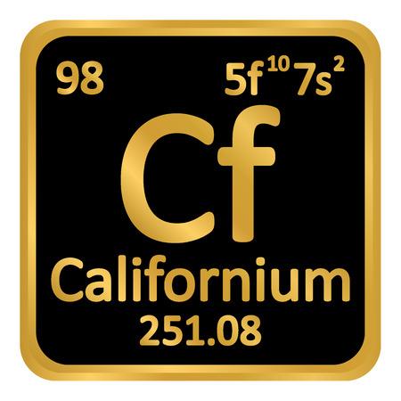 Periodic table element californium icon on white background. Vector illustration. Illustration