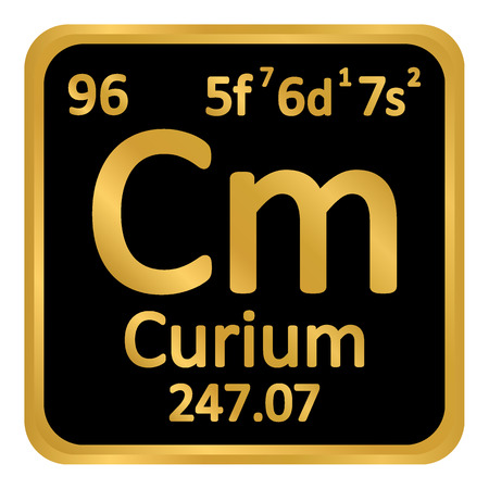 Periodic table element curium icon on white background. Vector illustration. Imagens - 99275747