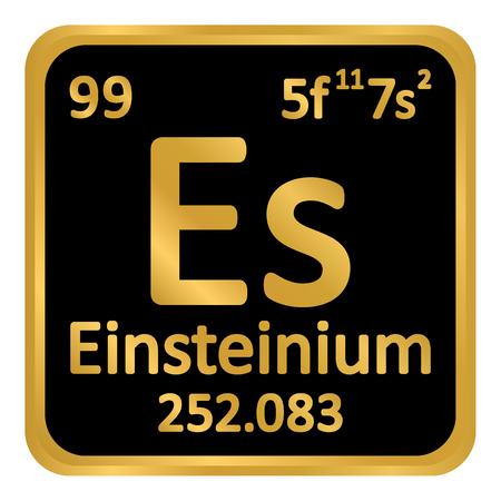 Periodic table element einsteinium icon on white background. Vector illustration. Illustration
