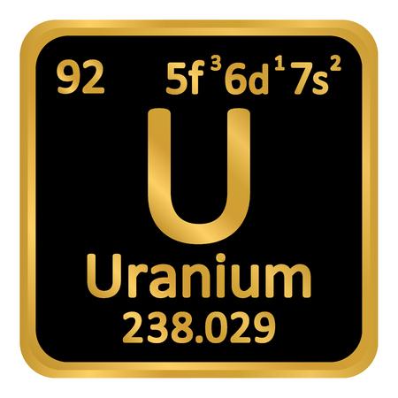 Periodic table element uranium icon on white background. Vector illustration. Illustration