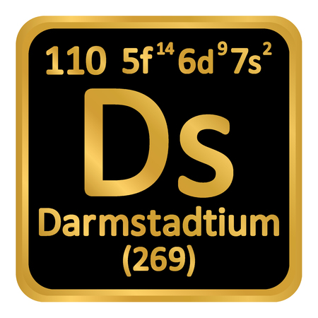 Periodic table element darmstadtium icon on white background. Vector illustration.
