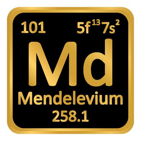 Periodic table element mendelevium icon on white background. Illustration