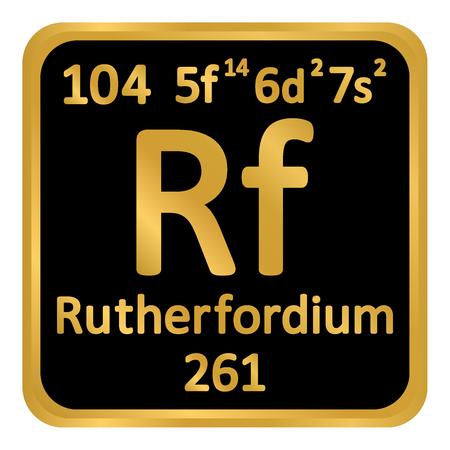 Periodic table element rutherfordium icon on white background. Vector illustration. Ilustração