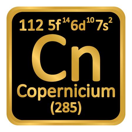 Periodic table element copernicium icon on white background. Vector illustration.
