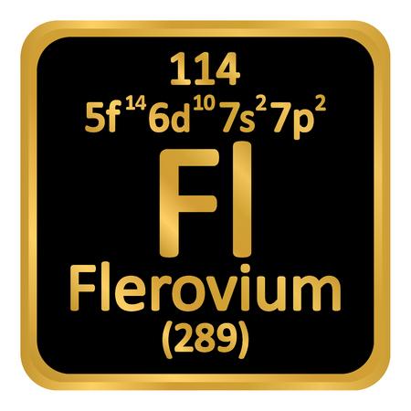 Periodic table element flerovium icon on white background. Vector illustration. Ilustração