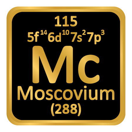 Periodic table element moscovium icon on white background. Vector illustration. Ilustração