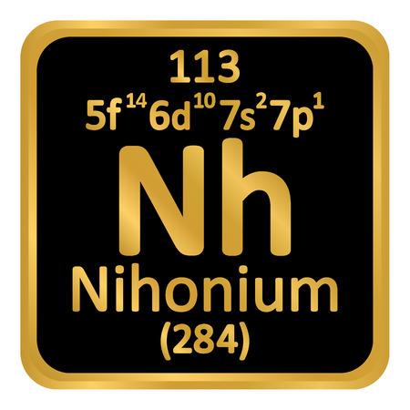 Periodic table element nihonium icon on white background. Vector illustration.
